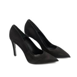 Дамски елегантни  обувки от естествен велур черни с ток-512