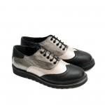 Дамски обувки от естествена кожа в комбинация черно, платина и розов цвят-1412