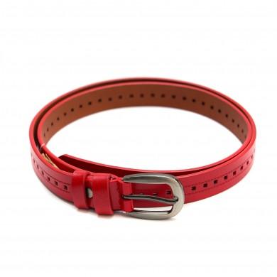 Червен дамски колан от естествена кожаа с перфорация и сива тока-3820