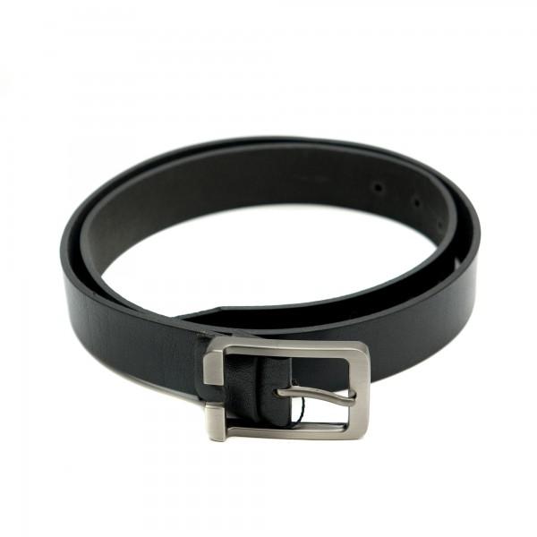 Дамски колан от естествена кожа в черно и модерна тока-3811