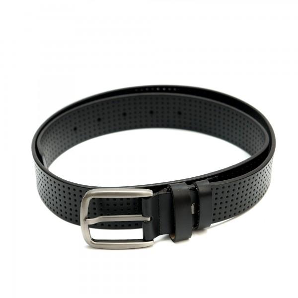 Черен дамски колан от естествена кожа с перфорация и сива тока-3813