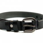 Дамски колан в черно от естествена кожа и сива нежна тока-3814-1