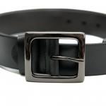 Дамски колан от естествена кожа в черен цвят и сива широка тока-3812