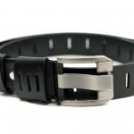 Черен дамски колан от естествена кожа и сива тока-3815