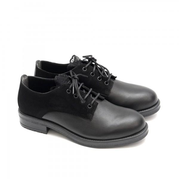 Ежедневни дамски есенни обувки от естествена кожа в черно -1426