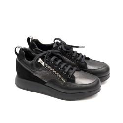 Ежедневни дамски есенни обувки от естествена кожа в черно и платина-1424