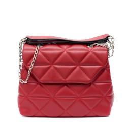Дамска ежедневна чанта от еко кожа в цвят бордо-1510