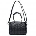 Практична дамска чанта от еко кожа в черен цвят-2-099