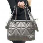 Сива пролетна дамска чанта от еко кожа с модерен дизайн-3-099