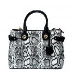 Змийска луксозна дамска чанта от еко кожа в сиво, бяло и черно-097