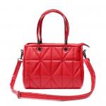 Червена дамска чанта от еко кожа с иновативен дизайн-01-099