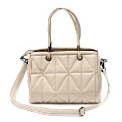 Дамска стилна чанта от еко кожа в цвят капучино с модерен дизайн-099