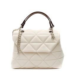 Практична дамска чанта с ефектна еко кожа решена в слонова кост-1510
