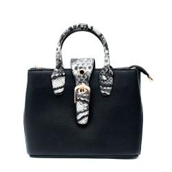 Дамска малка модерна чанта от еко кожа в черен цвят и змийски мотив-100