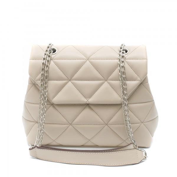 Стилна дамска чанта от еко кожа в цвят капучино-9-1510