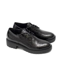 Ежедневни дамски обувки от естествена кожа в черен цвят решени с блясък и връзки с ток-771