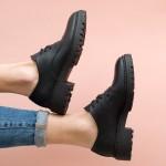 Ежедневни дамски пролетни дамски обувки от естествена кожа с връзки и дискретен ток-770