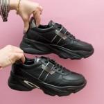 Сникърси от естествена кожа в черен цвят с връзки и модерно ходило-769