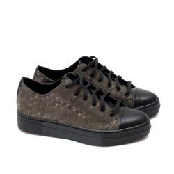 Пролетни дамски обувки от естествена кожа в черно и сиви акценти с връзки-1577