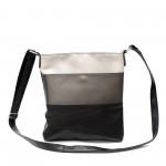 Дамска чанта от еко кожа в свежа комбинация от черно, сиво и бежово-1-104