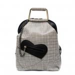 Закачлива дамска раница от еко кожа в черно и бяло и модерен аксесоар сърце-1-95