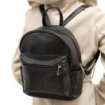 Ежедневна дамска раница от еко кожа в черен цвят-1-84