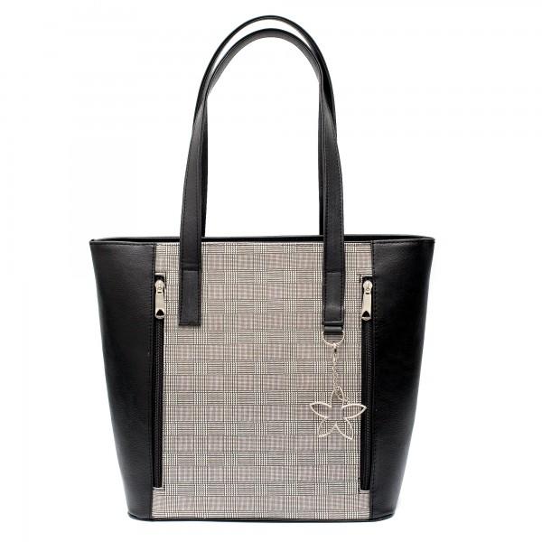 Дамска голяма дамска чанта от еко кожа в черно и модерен принт-5-94
