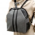 Сиво-черна дамска раница от еко кожа с модерни метални основни дръжки-102