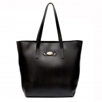 Елеганта дамска чанта от еко кожа с дълги дръжки в черен цвят-1006