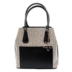 Ефектна дамска чанта от еко кожа в черно и бял принт с аксесоар-цвете-96