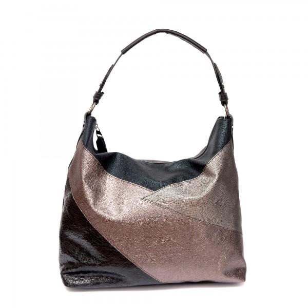 Дамска ежедневна чанта в черно златисто и сребристо от еко кожа-136