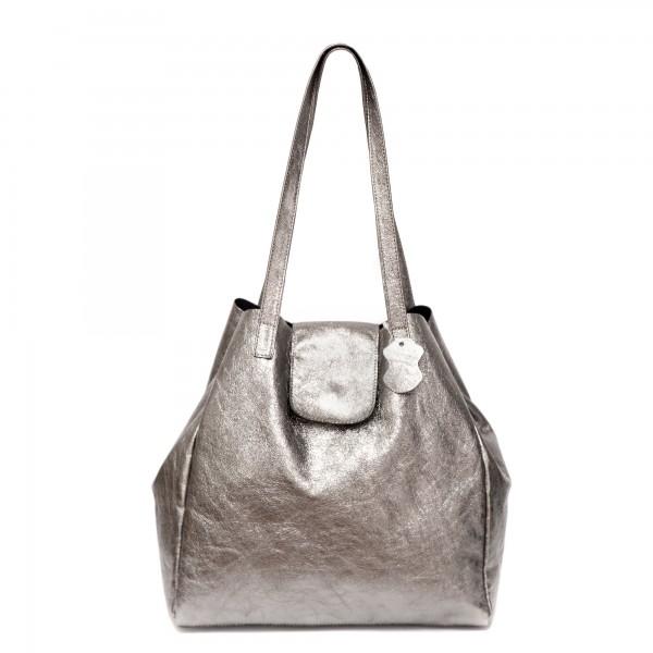 Дамска ежедневна чанта от естествена кожа сребриста-733