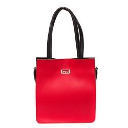 Дамска ежедневна чанта от гладка еко кожа в червено и черно-687