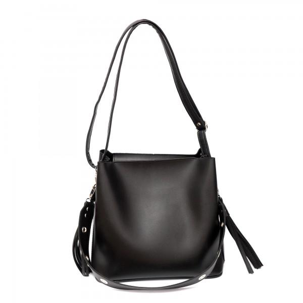 Черна дамска ежедневна чанта от гладка еко кожа-145