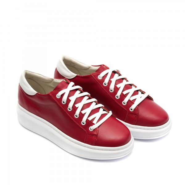 Дамски червени ежедневни обувки от естествена кожа с връзки-731