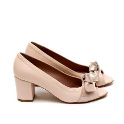 Летни дамски обувки от естествена кожа розови с ток-430