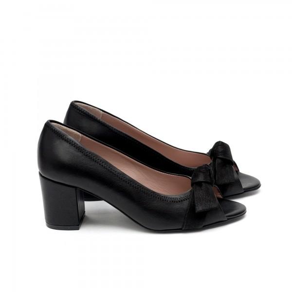 Дамски летни обувки от естествена кожа черни с ток-431