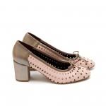 Дамски обувки пролетни от естествена кожа розови с перфорация на ток-429
