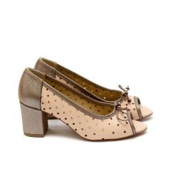 Дамски летни обувки от естествена кожа бежови с перфорация-436