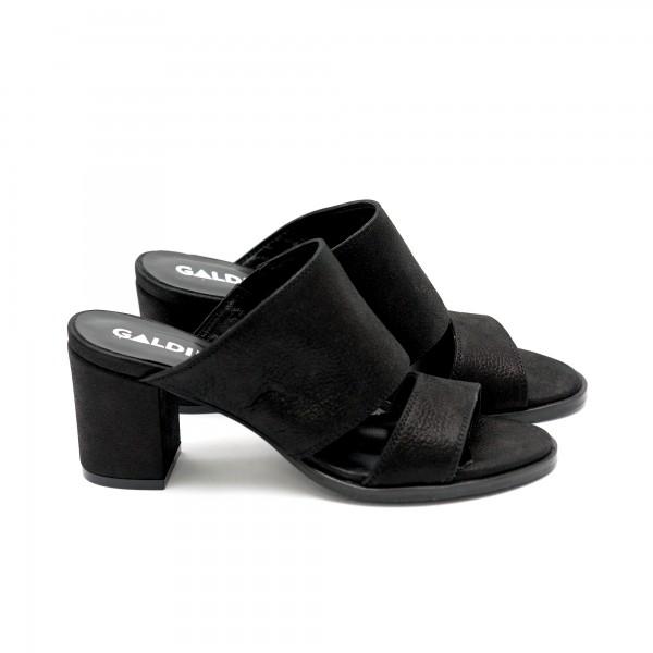 Летни дамски чехли от естествена кожа черни-445