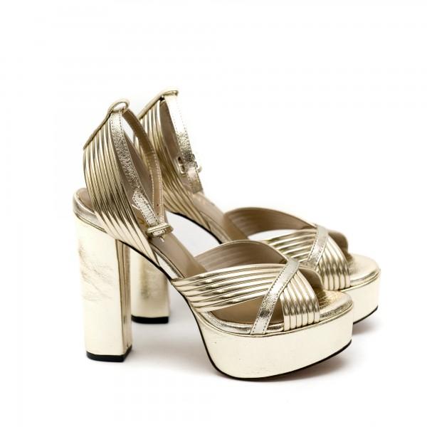 Дамски сандали от естествена кожа златисти с висок ток-446