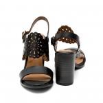 Дамски сандали от естествена кожа черни с ток-453