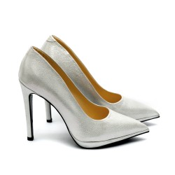 Дамски елегантни обувки от естествена кожа сребристи на ток-452