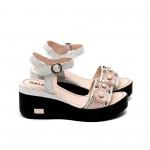 Дамски сандали от естествена кожа пудра + сребро с перли-463