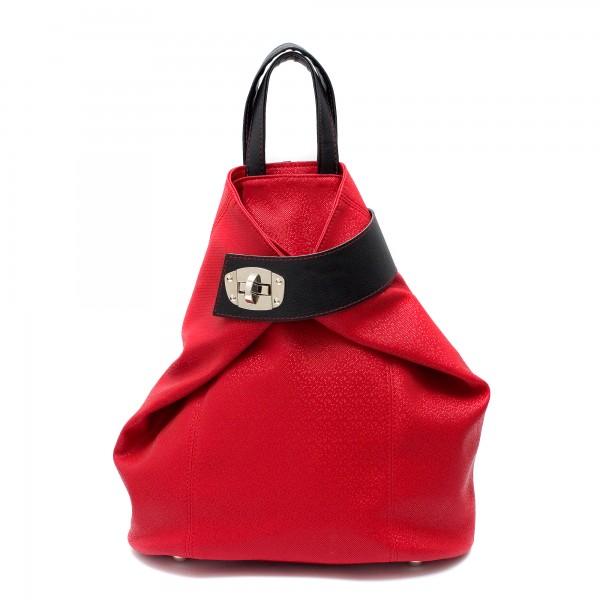 Дамска раница от еко кожа в комбинация от лъскаво червено и черно-1116