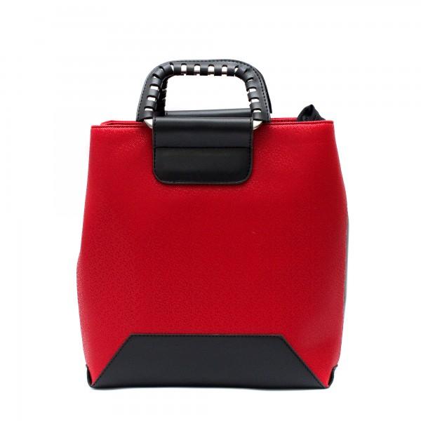 Елеганта дамска чанта от еко кожа в червен цвят с бляскави частици-1735