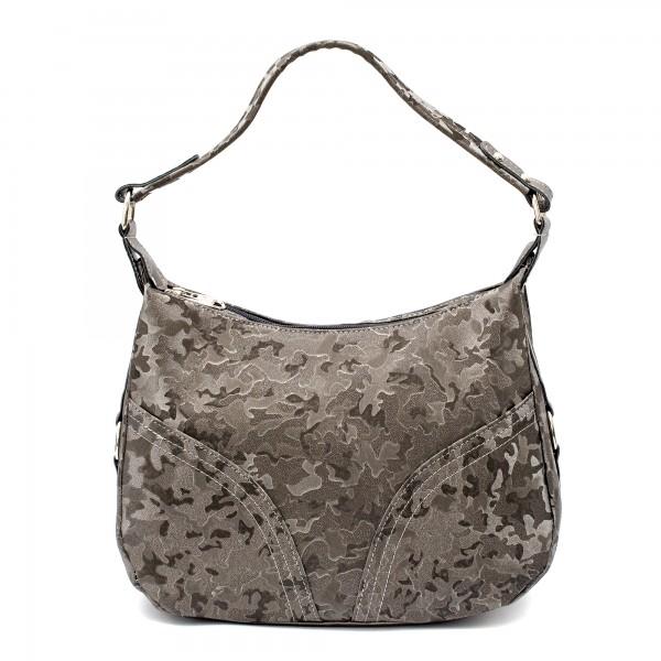 Ежедневна дамска чанта от еко кожа в сив цвят и камуфлажен ефект-1736