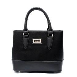 Стилна дамска чанта в черен цвят с бляскави частици-935