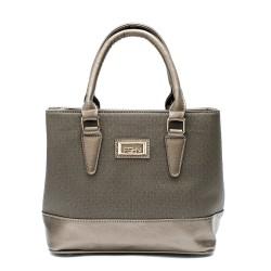 Елегантна дамска чанта в цвят бакър с блясък-935
