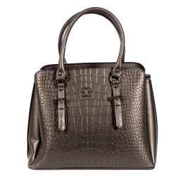 Елегантна модерна чанта от еко кожа сива с кроко елемент-0996
